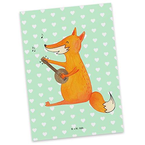 Mr. & Mrs. Panda Postkarte Fuchs Gitarre - 100% handmade in Norddeutschland - Pappe, Sänger, Karte, Papier, Musikerin, Gitarre, , Einladung, Geschenk Musiker, Grußkarte, Postkarte, Sängerin (Pappas Geschenk-karte)