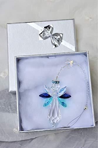 Schutzengel mit Sternchen in Geschenkebox - handgearbeitet aus Kristallen von Swarovski® -