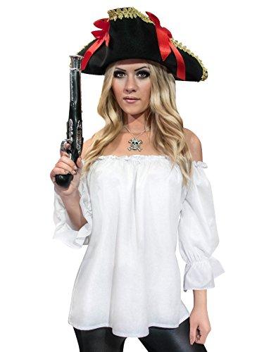 Piratenbluse für Damen Mittelalter weiss (Piraten Hut Mit Rüschen)