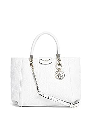GUESS G Cube Quilt Abbey Satchel White