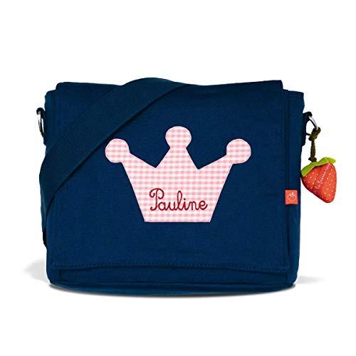 Kindergartentasche & Kindergartenrucksack in einem: Krone Prinzessin für Mädchen (mit Namen) in blau -