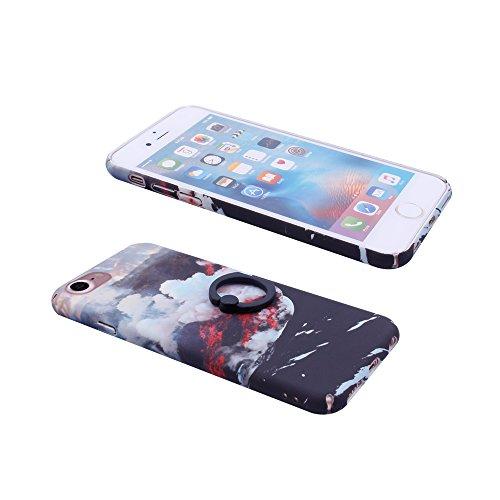 iProtect Hardcase mit Ring Blüten Schutzhülle in Transparent Schwarz mit Fingerhalterung für Apple iPhone 7, iPhone 8 Wolken