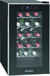 Bomann KSW 345 Weinkühlschrank Freistehend/B / 189 kWh/Jahr / 63.6 cm / 18 Flaschen/elektronische Temperatursteuerung und -einstellung/schwarz