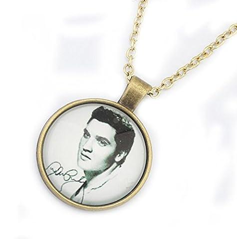Mode Einfache Elvis Presley Porträt Zeit Edelstein Halskette Anhänger mit 50cm Kette für Männer Frauen (1)