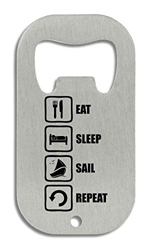 LukeTee Eat Sleep Sail Repeat Funny Black Graphic Flaschenöffner