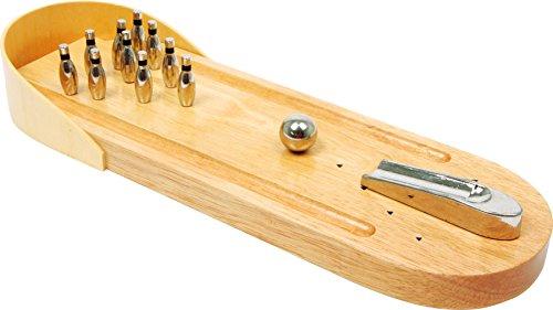 small foot 2877 Tisch-Bowling aus Holz, Geschicklichkeitsspiel mit 10 Metallkegeln und 1 Metallkugel, ab 3 Jahre, Natur