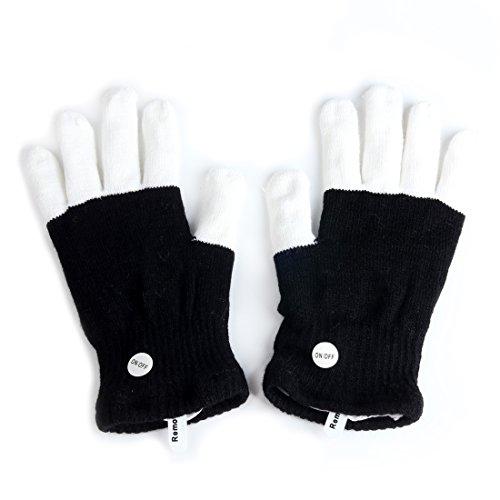Andux Land blinkende Handschuhe LED 7 Farben-Licht-Show EST-01 (Light Up Rave Handschuhe)