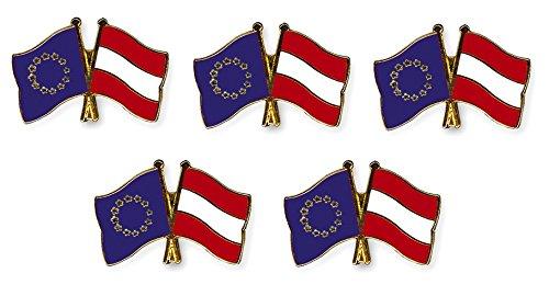 Yantec Freundschaftspin 5er Pack Europa Österreich Pin Anstecknadel Doppelflaggenpin