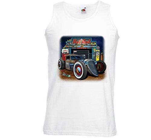Hot Rod Tank Top Muskel Shirt Rat Rod Garage weiß Vintage Rockabilly Gr. XL (Rat Rod Garage)