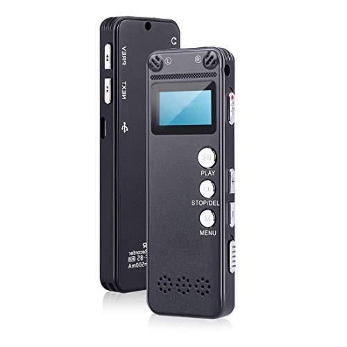 Lzour Digitaler Sprachrekorder, 8GB USB Professional Dictaphone Voice Recorder mit MP3-Player, Voice Activated Recorder mit wiederaufladbaren