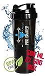 Protein Shaker mit Pulverfach von Becksports-Equipment 3-teilig mit abnehmbarer Pillen- und 2x50g Pulverbox, 700 ml Fassungsvermögen (skaliert bis 500 ml), Auslaufsicher-BPA frei mit Edelstahl Spirale