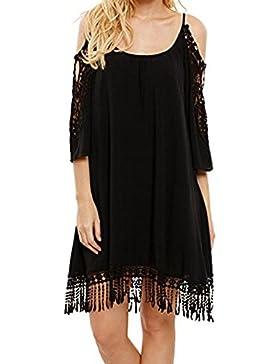 iShine falda larga mujer faldas cortas pijamas mujer Vestido casual suelto,negro y blanco