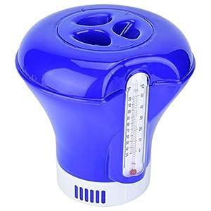 Floating Chemical Cloro Termometro per Piscina Galleggiante Chimico Cloro Dispenser Tablet con termometro