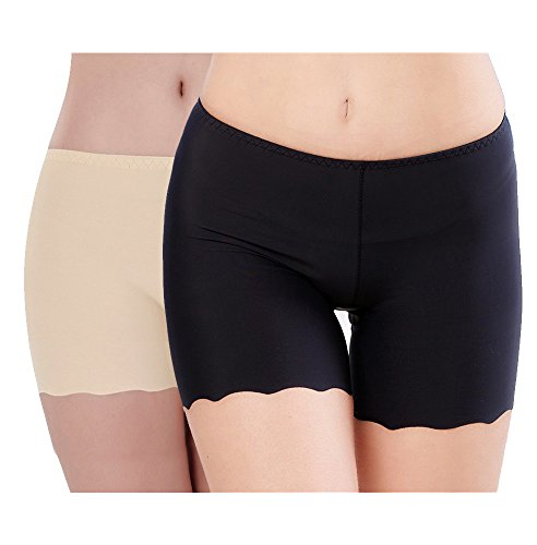 Imixcity 2/3 Pack Women's Ice Silk Safety Shorts Invisible Seamless Boxer Briefs Underwear Boyshort