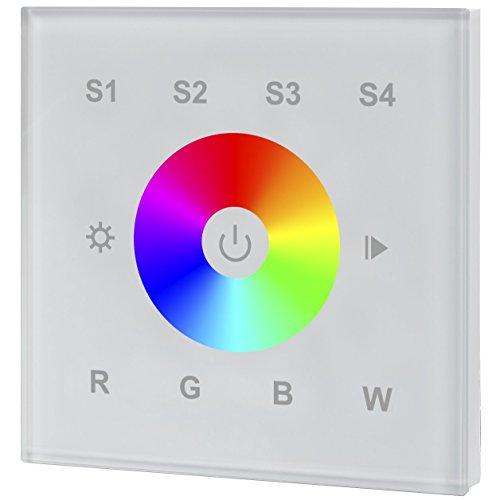 iluminize Design Wand-Dimmer Funk: hochwertiger Funk Wand-Dimmer Touch R für RGB, RGB+W und RGBW LEDs, 1 Lichtzone, Netzanschluss 230V, Installation in einer Schalterdose (1 Zone weiße Glasoberfläche). KEIN Universal-Dimmer: Controller ist erforderlich!