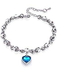 itemer 1pc moda elegante pulsera corazón cristales joyas brazalete para mujeres niñas Regalos