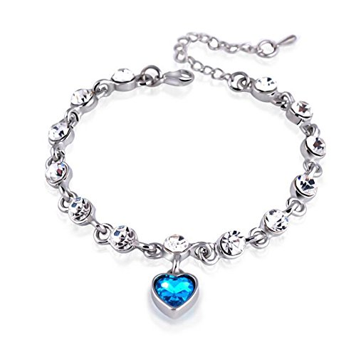 Demarkt Women Girls Fashion Elegant Crystal Bracelet Romantic Heart Bracelet Women's Jewelry