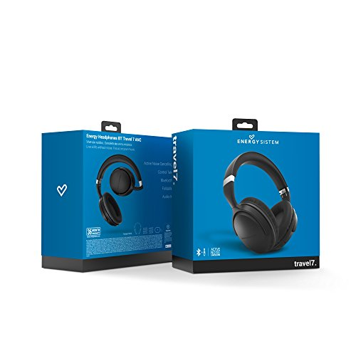 Energy Sistem BT Travel 7 - Auriculares Bluetooth con tecnología Active Noise Cancelling, Color Negro