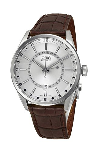 Oris Artix Pointer Moon Date Automatic Stainless Steel Mens Strap Watch Silver Dial 761-7691-4051-LS