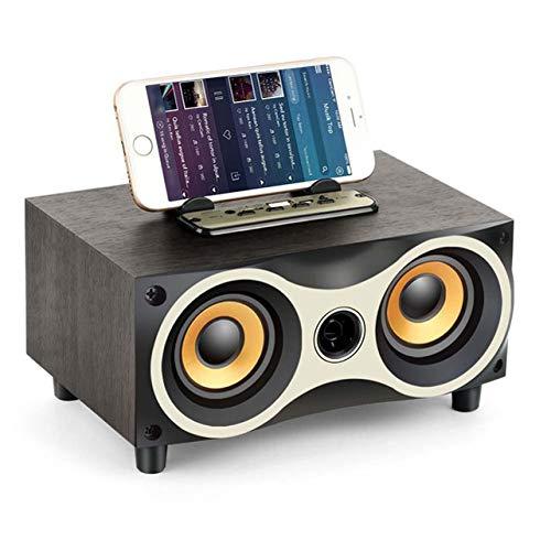 NFY Tragbare Holz Wireless Bluetooth Speakers Subwoofer Stero Lautsprecher Radio FM Boombox,Black -