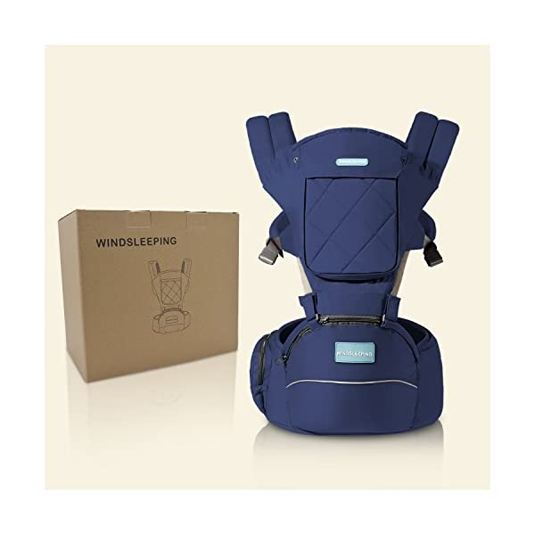 "Windsleeping Baby and Child Carrier Backpack 6-in-1 Detachable Natural Latex Carrier Sling with Hip Seat Suit for Newborn, Infant,Toddler,Kids - Dark Blue Windsleeping [Specification] - Size of the child carrier backpack is: L 29.4*H 27.3*W 19.2CM(11.5""*10.7""*7.5""). Weight: 1.05KG(2.31lbs). Max load-bearing: Up to 40 pounds/ 20Kg. Suitable 3-36 months age children [Breathable Natural Latex & Cotton] - Made of natural latex, breathable cotton, natural latex can inhibit bacteria and allergens effectively, Unique breathable pinhole design can dissipate body heat and moisture, make comfort for both you and baby [Portable Split Design & 6 Carrier Ways ] - The waist stool of the baby travel carrier could be detached from upper strap, makes the waist stool can be used independently, can easily use when traveling. More than 6 ways to carrier: front inward, front outward, hip or back carry 2"