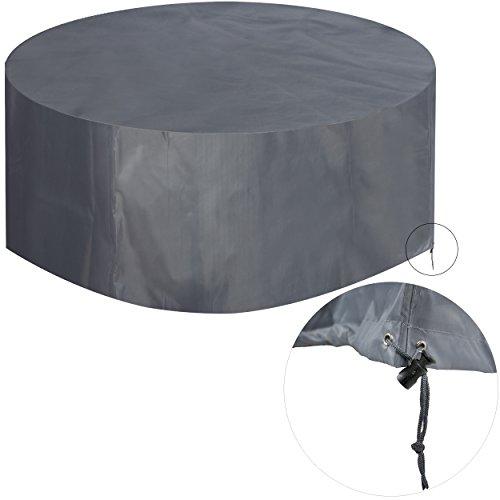 KROLLMANN Schutzhülle für Sitzgruppe, runde Abdeckung für Gartenmöbel in Grau aus Polyester,...