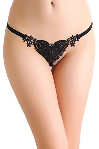 CTYHCG Damen Panties Unterhose Unsichtbar Hipster Spitze Schlüpfer Weich Unterwäsche Schwarz 1