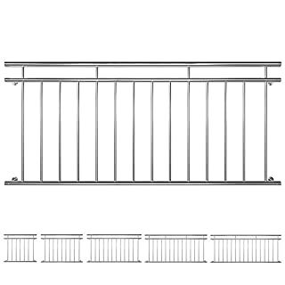 V2Aox Edelstahl Französischer Balkon Geländer Balkongeländer 90 x 100-225 cm, Breite:184 cm