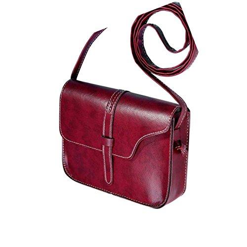 Malloom® Donna Vintage Borse a tracolla in PU Pelle Ragazza Borse a spalla Rosso