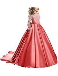 bd3b013044 IBTOM CASTLE Vestido de niña de Flores para la Boda Niños Largo Gala Encaje  De Ceremonia