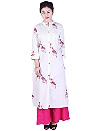 Crazora Women's Summer Cotton Summer Printed Long Kurta Kurti With Pant Palazzo Set For Traditiona Wear