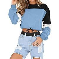 JiaMeng Sudadera de Manga Larga de Color de Empalme Jersey Tops Blusa Empalme Color Casual Otoño Impresión de Punto Suéter Jerséis Tops