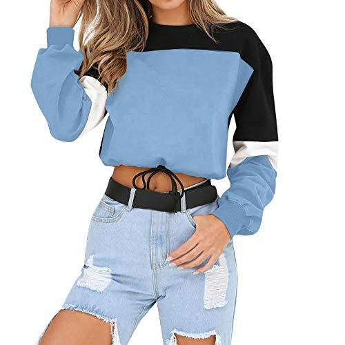 Manadlian Damen Lange Ärmel Farbe splitten Sweatshirt zur Seite Fahren Oberteile O-Ausschnitt Bluse