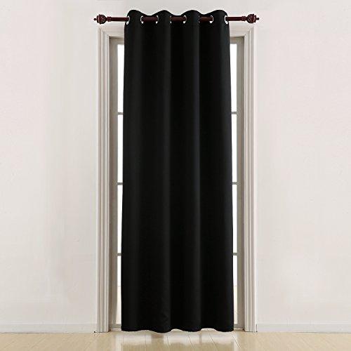 Deconovo tenda oscurante termica isolante con occhielli per la tua casa 100% poliestere 132x213 cm nero un pannello