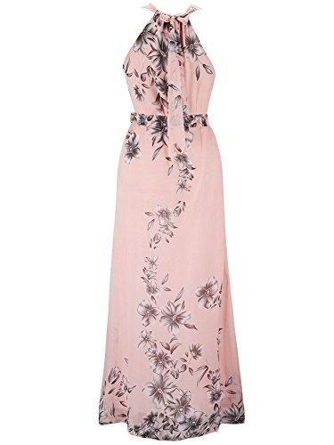 Damen Ärmellose Chiffon Blumen Maxi Langes Partykleid Strandkleid Elegant Cocktailkleid Rosa