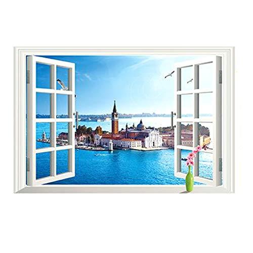 Mode Wandsticker Abnehmbare Wandaufkleber Home Decor, 3d Window Sea City