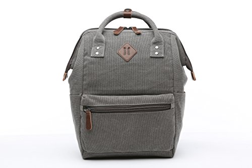 ShengTS Damen Herren Mädchen Jungen Retro Canvas Schule Rucksack 15,6 Laptop Schultasche Handtasche Wanderrucksack Reisetasche 12 Zoll Laptoprucksack Daypack mit Großer Kapazität (grau) grau