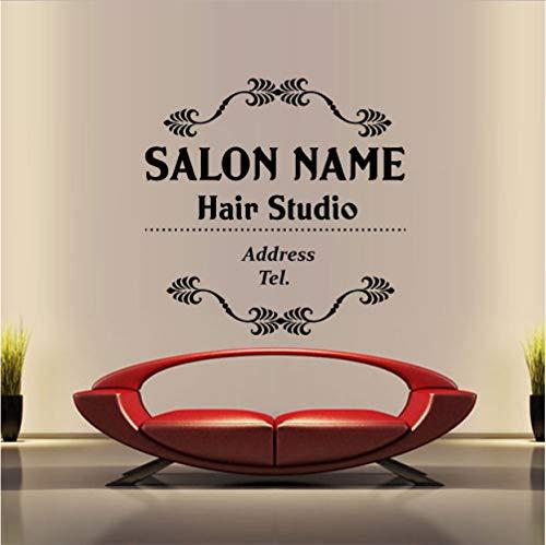 Peluquería Vinilo Tatuajes de pared Nombre de lapeluquería Etiqueta de la pared Belleza Peinado Letrero Signo Tienda de cristal Decoración de cristal 55x88 cm