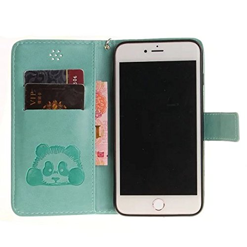 Etsue Handytasche für iPhone 7 Plus (5.5 Zoll) 2016 schwarz, Brieftasche Hülle für iPhone 7 Plus (5.5 Zoll) 2016 [Sonnenblume] Muster Lederhülle Handyhülle Einzigartig Flip Hülle Leder Schutzhülle Vin Karikatur Panda,Grün
