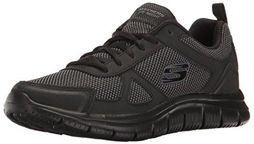 Skechers Track Bucolo Herren Comfort Sport Sneaker in grau schwarz mit Memory Foam, Black/Black, 43 EU (Schuhe Für Herren Skechers-sport)