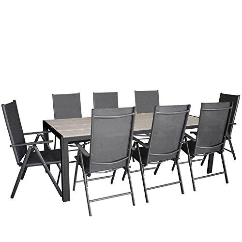 9tlg. Gartengarnitur, Aluminium Gartentisch mit Polywood-Tischplatte Grau 205x90cm + 8x Aluminium-Hochlehner mit 2x2 Textilenbespannung, 7-fach verstellbar, klappbar, anthrazit / Sitzgruppe Sitzgarnitur Gartenmöbel Terrassenmöbel