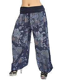 Jygles Damen Leichte Damen Hose Sommerhose Pumphose Strandhose im Harem mit  Blumenmuster ba9efcfe52