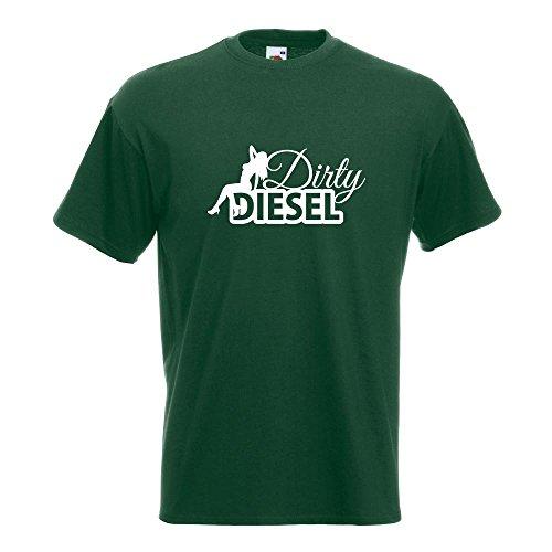 KIWISTAR - Dirty Diesel Design 2 dreckiger T-Shirt in 15 verschiedenen Farben - Herren Funshirt bedruckt Design Sprüche Spruch Motive Oberteil Baumwolle Print Größe S M L XL XXL Flaschengruen