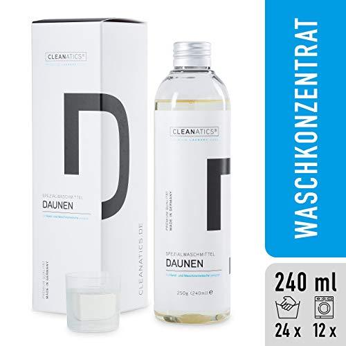 CLEANATICS Daunenwaschmittel mit rückfettendem Lanolin für voluminöse Daunen & Federn - Waschmittel Konzentrat mit frischem Duft für Daunenjacke, Daunenweste, Daunendecke & Daunenkissen (250 g)