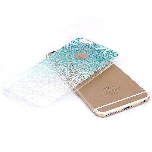 iPhone 6S Plus Hülle, iPhone 6 Plus Hülle, SpiritSun Transparent Schutzhülle für Apple iPhone 6 6S Plus (5.5 Zoll) PC Hart Handyhülle Extrem Dünne Bumper Cover mit Tribal Muster - Bunt Lotus Blume Z-Blau Sonne Aztec Floral