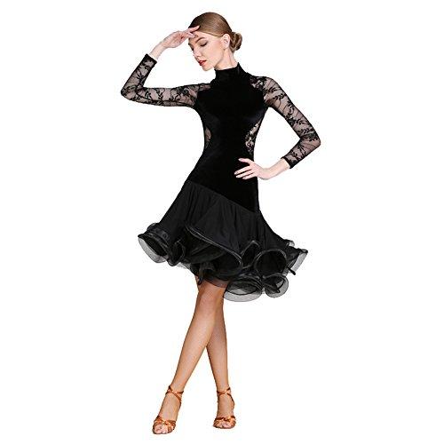 Tanz Samt Bh (Q-JIU Latein-Tanz Kleider Damen Leistung Spitze Samt Farbaufsatz Gerafft Langarm Normal Kleid,Black,L)