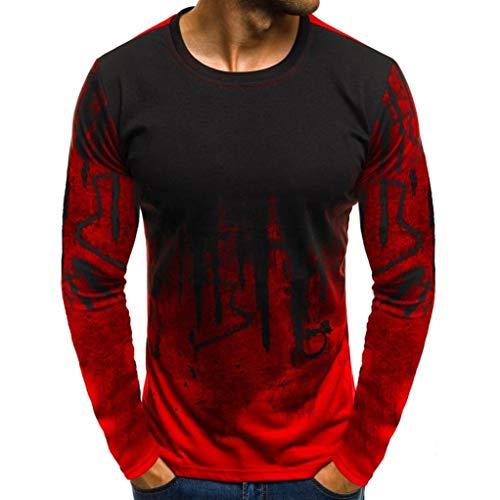 Herren Longsleeve Langarmshirt Shirt Basic Bluse Tops Herren Basic Longsleeve O-Neck T-Shirt Sweatshirt Langarm Shirt LianMengMVP (Rot, M)