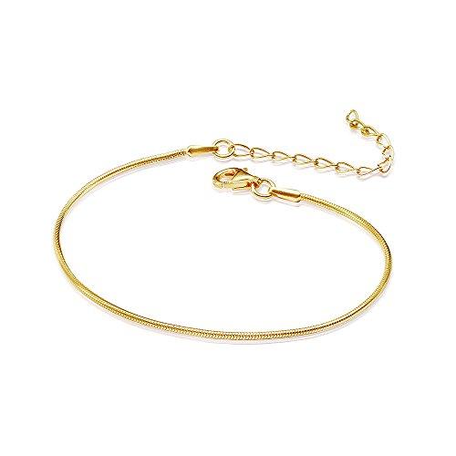 MATERIA Damen Armband Schlangenkette 925 Silber vergoldet 1mm 17-22cm variabel #SA-62