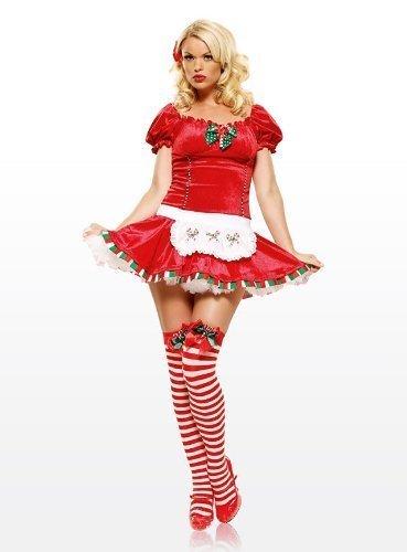 Cane Rote Kostüme (Leg Avenue - Candy Cane Cutie Samtkleid - 83470,)