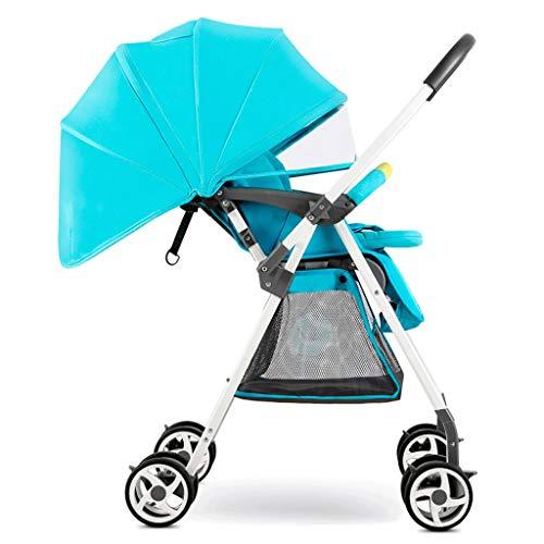 Gute Qualität Kinderwagen Buggys Leichter Kinderwagen, tragbarer, hochauflösender Zweiwege-Kinderwagen mit Einstellbarer Bremsdämpfung Baby Standardkinderwagen (Color : Blue)